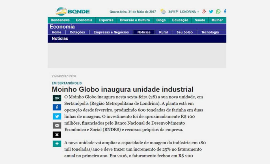 Moinho Globo inaugura unidade industrial – Portal Bonde