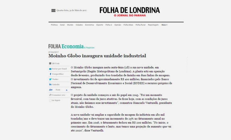 Moinho Globo inaugura nova unidade industrial – Folha de Londrina