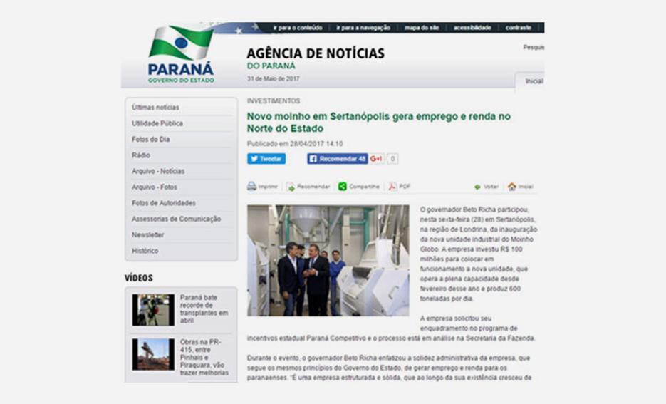 Novo moinho em Sertanópolis gera emprego e renda no Norte do Estado – Agência Estadual de Notícias